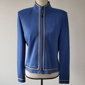 ST JOHN by Marie Gray Blue Knitted Jacket Blazer